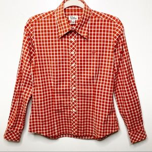 Lilly Pulitzer Red and White Plaid Shirt
